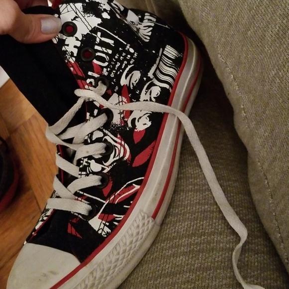 Converse Shoes | Red And Black Graffiti Converse | Poshmark